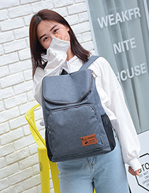 Fashion Gray Pure Color Decorated Traveling Backpack