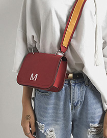Fashion Red Letter M Decorated Pure Color Shoulder Bag