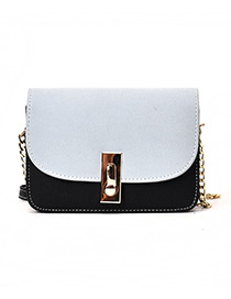 Fashion Blue Square Shape Buckle Decorated Shoulder Bag