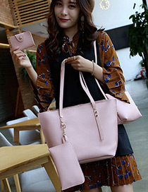 Fashion Pink Rivet Decorated Pure Color Shoulder Bag (4pcs)
