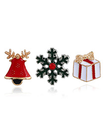Elegant Multi-color Snowflake&gift Box Shape Decorated Brooch