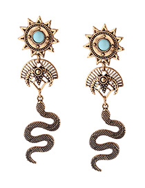 Fashion Antique Gold Snake Pendant Decorated Sector Shape Earrings