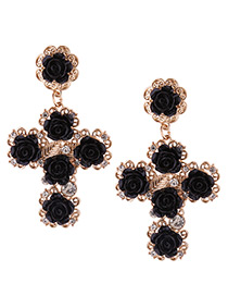 Fashion Black Flower Decorated Cross Shape Design Earrings