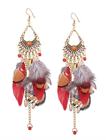 Vintage Red Feather Decorated Tassel Earrrings