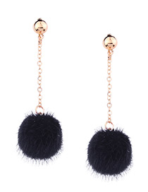 Cute Black Fuzzy Ball Decorated Pom Earrings