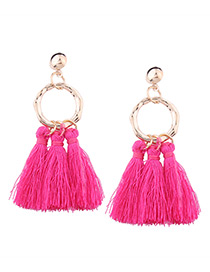 Bohemia Plum-red Tassel Decorated Earrings