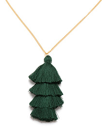 Bohemia Dark Green Pure Color Decorated Tassel Necklace