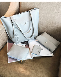Fashion Light Gray Pure Color Decorated Bags (4pcs)