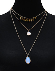 Fashion White+light Blue Oval Shape Decorated Multilayer Necklace