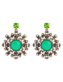 Trendy Antique Gold+green Flower Shape Decorated Hollow Out Earrings
