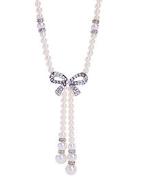 Trendy White Bowknot&pearls Decorated Simple Necklace