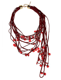 Vintage Red Beads Decorated Multi-layer Choker