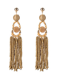 Bohemia Gold Color Pure Color Decorated Tassel Earrings