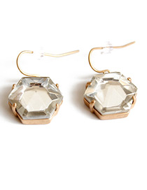 Fashion Gold Color Hexagonal Shape Decorated Pure Color Earrings