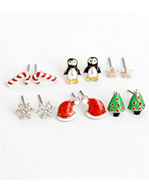 Fashion Multi-color Penguin&star&snowflakes Decorated Earrings (6pcs)