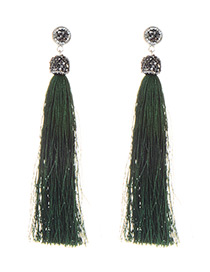 Fashion Dark Green Long Tassel Decorated Pure Color Earrings