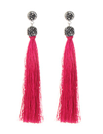 Fashion Plum Red Long Tassel Decorated Pure Color Earrings