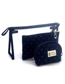 Trendy Black Letter Pattern Decorated Transparent Cosmetic Bag(3pcs)