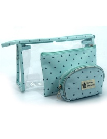 Trendy Blue Letter Pattern Decorated Transparent Cosmetic Bag(3pcs)