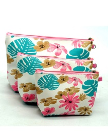 Trendy Pink+blue Flower Pattern Decorated Cosmetic Bag(3pcs)