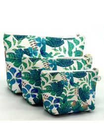Trendy Green Leaf Pattern Decorated Cosmetic Bag(3pcs)