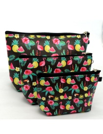 Trendy Black+pink Fruit Pattern Decorated Cosmetic Bag(3pcs)