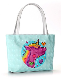 Trendy Green Unicorn Pattern Decorated Cosmetic Bag
