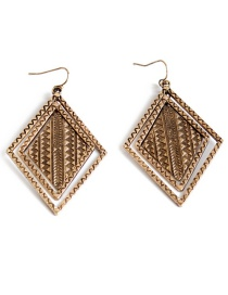 Fashion Gold Color Rhombus Shape Decorated Hollow Out Earrings