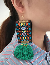 Fashion Green Tassel Decorated Hand-woven Design Earrings