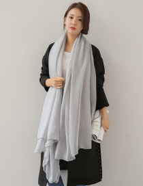 Fashion Light Gray Pure Color Decorated Dual-use Scarf