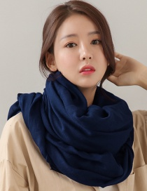 Fashion Navy Pure Color Decorated Dual-use Scarf