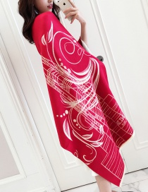 Fashion Red Flower Pattern Decorated Dual-use Thicken Scarf