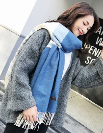 Fashion Blue Tassel Decorated Color Matching Thicken Scarf