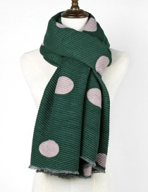 Fashion Dark Green Dots Pattern Decorated Thicken Scarf