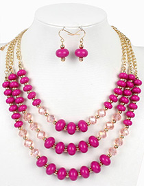 Vintage Plum Red Beads Decorated Multi-layer Jewelry Sets