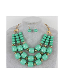 Vintage Light Green Pure Color Decorated Beads Jewelry Sets