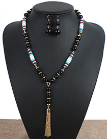 Personality Black Metal Tassel Decorated Jewelry Sets