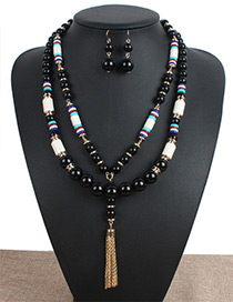Personality Black Metal Tassel Decorated Double-layer Jewelry Sets