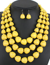 Fashion Yellow Pure Color Decorated Jewelry Set
