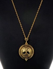 Fashion Gold Color Hollow Out Tree Decorated Long Necklace