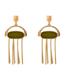 Fashion Gold Color Tassel Decorated Oval Shape Earrings