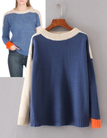 Trendy Blue Color Matching Decorated Round Neckline Sweater
