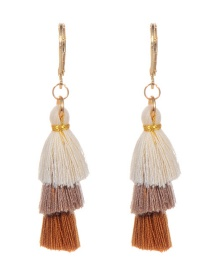 Fashion Coffee+beige Tassel Decorated Umbrella Shape Earrings
