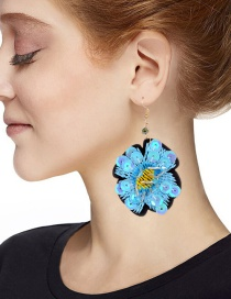 Fashion Blue Sequins Decorated Flower Shape Earrings