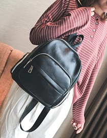 Fashion Black Pure Color Decorated Backpack