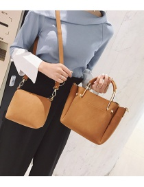 Fashion Brown Pure Color Decorated Bag (2pcs)