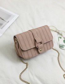 Elegant Pink Round Buckle Decorated Pure Color Shoulder Bag