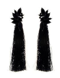 Vintage Black Oval Shape Diamond Decorated Tassel Earrings