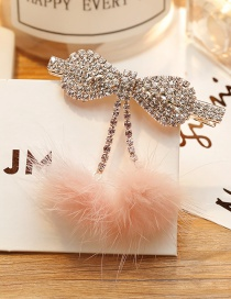 Fashion Pink Bowknot&fuzzy Ball Decorated Hairpin