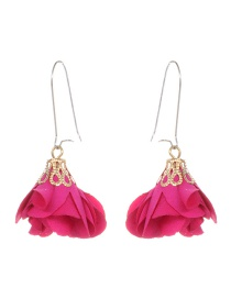 Fashion Plum Red Flower Pendant Decorated Earrings